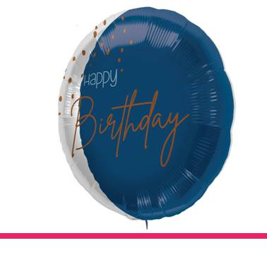 Folieballon Blue Happy Birthday