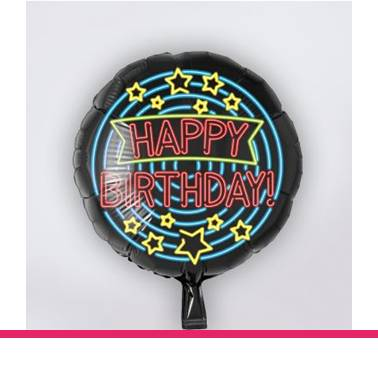 Folieballon neon Happy Birthday