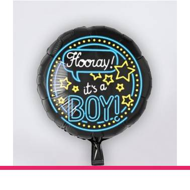 Folieballon neon Hooray it's a Boy