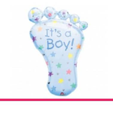 Folieballon It's a boy voet